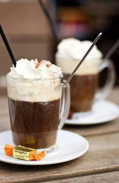 A German Pharasee cup of coffee, made with rum, cream and strong black coffee.