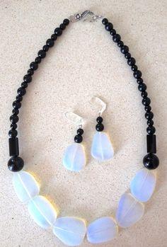 Stunning Black Onyx and Opalite by GlamRox.