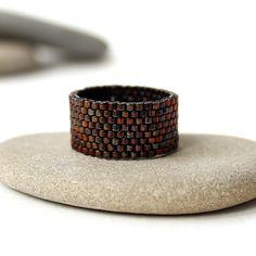 Stylish beaded ring Minimalist ring Elegant ring by HappyBeadwork