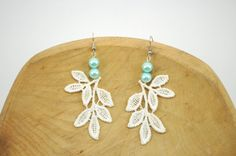 Something Blue Ivory Floral Lace Earrings with by LeBijouxJardin, $24.95