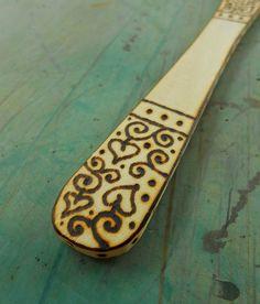 Wood-burned beechwood spatula with leaves and by RamblingTart