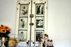 Alte Fensterrahmen als Bilderrahmen