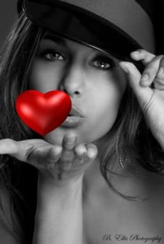 ** Black  White With A Pop Of Color ** red heart