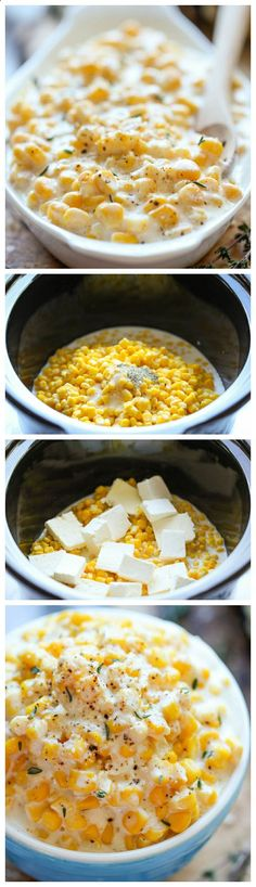 Slow Cooker Creamed Corn - So rich and creamy, and unbelievably easy to make with just 5 ingredients. Doesnt get easier than that!