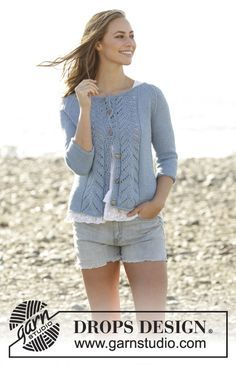 Wavelength Cardigan with lace pattern and raglan by DROPS Design Free Knitting Pattern