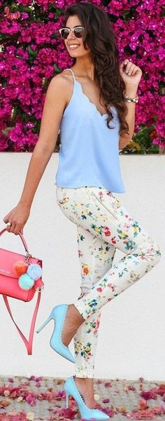 #summer #popular #outfitideas Baby Blue + Floral: @roressclothes closet ideas #women fashion outfit #clothing style apparel