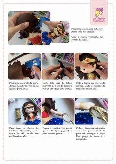 Boneca Mulher Maravilha com molde Felt Crafts Patterns, Felt Diy, Felt Dolls, Beading Patterns, Sewing Projects, Geek Stuff, Wonder Woman, Jamaica, Ideas Para