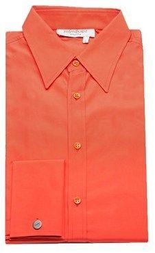 Saint Laurent Men's Cotton Point Collar Dress Shirt Orange.