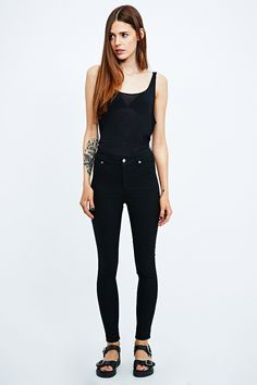 Cheap Monday Spray On High-Rise Jeans in Black