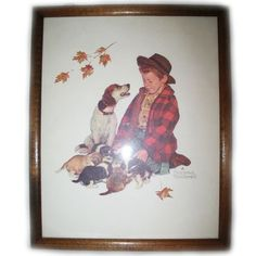 VINTAGE NORMAN ROCKWELL Old PRINT PRINTED Art Painting BOY DOG Wood Wooden Frame $98 .. we sell more OLD and VINTAGE HOME DECORATIONS at http://www.TropicalFeel.com