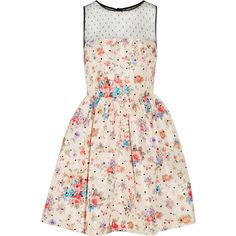 REDValentino Floral-print taffeta mini dress ($159) ❤ liked on Polyvore featuring dresses, nude, embellished mini dress, pink polka dot dress, floral dresses, flower pattern dress and pink dress