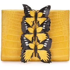 Nancy Gonzalez Butterfly Crocodile Small Clutch Bag (€1.330) ❤ liked on Polyvore featuring bags, handbags, clutches, purses, accessories, butterfly purse, croc handbags, butterfly handbags, croc embossed handbags and yellow hand bags
