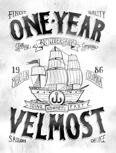 """Check out these 11 AWESOME label design projects from Jon Contino's """"Design and Illustrate a Label"""" class. Featuring stunning labels for bottles, clothes, food, and much more. Sea Illustration, Visual Communication Design, Sailor Jerry, Sketch Pad, First Anniversary, Typography, Lettering, Good Marriage, Graphic Design Art"""