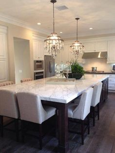 More ideas below: Rustic Large Kitchen Layout Design Farmhouse Large Kitchen Window Luxury Large Kitchen Island and Rug Modern Large Kitchen Decor Ideas Large Kitchen Floor Plans Remodel Kitchen Island Dining Table, Large Kitchen Island, Dining Tables, Kitchen Island With Seating For 6, Big Island, Modern Kitchen Island Designs, Kitchen Ideas Large, Kitchen With Dining Room, White Kitchen Tables