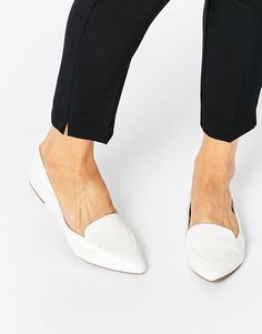 Image 1 of New Look Croc Effect Pointed Shoes