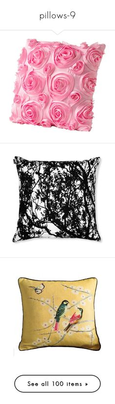 """pillows-9"" by shadows-of-design ❤ liked on Polyvore featuring home, home decor, throw pillows, pillows, decor, rose throw pillow, furniture, black and white throw pillows, black and white accent pillows and patterned throw pillows"