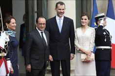 Le roi et la reine d'Espagne en France - Letizia et Felipe reçus par Hollande et Royal