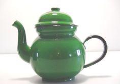 Kelly Green Enamel Teapot Made in Poland by Lifeinmommatone, $12.00