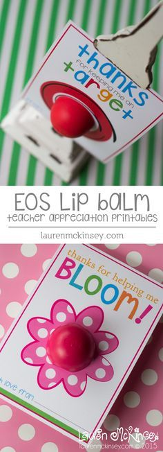EOS lip balm teacher appreciation printable cards :: Lauren McKinse