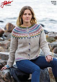 'Sjön' - kofta med mönsterstickat ok Icelandic Sweaters, Wool Sweaters, Sweater Knitting Patterns, Free Knitting, Cardigan Design, Cardigans For Women, Alpacas, Mantel, Baby Alpaca