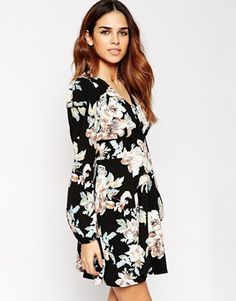 ASOS Skater Dress With Boho Sleeve in Floral Print