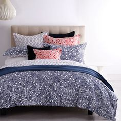 Monika Navy Queen Bed Quilt Cover Set by Royal Doulton | My Linen