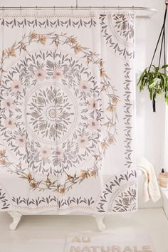 Sketched Floral Medallion Shower Curtain - Cotton shower curtain print with a folk-inspired floral medallion for countryside bohemian vibes no matter where you're at. Floral Shower Curtains, Boho Curtains, Bathroom Curtains, Bohemian Shower Curtain, Pretty Shower Curtains, Vintage Shower Curtains, Boho Bathroom, Small Bathroom, Bathroom Ideas