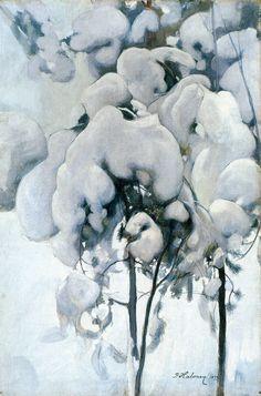"""""""Lumisia Männyntaimia"""" (Snowy Pine Seedlings) by Pekka Halonen, 1899"""