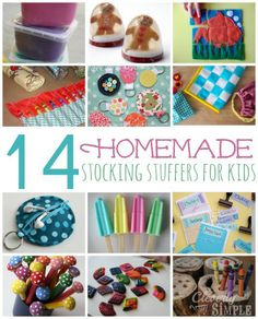 Looking for homemade inspiration?  Here's 14 homemade stocking stuffers to give to kids this holiday season.  Nothing says love like homemade!