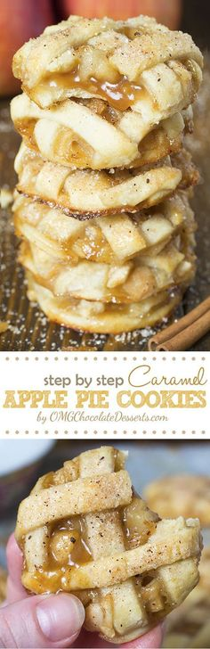 Caramel Apple Pie Cookies Recipe via OMG Chocolate Desserts - sticky and chewy, bite sized caramel apple pies! The BEST Bite Size Dessert Recipes - Mini, Individual, Yummy Treats, Perfectly Pretty for Your Baby and Bridal Showers, Birthday Party Dessert Tables and Holiday Celebrations!
