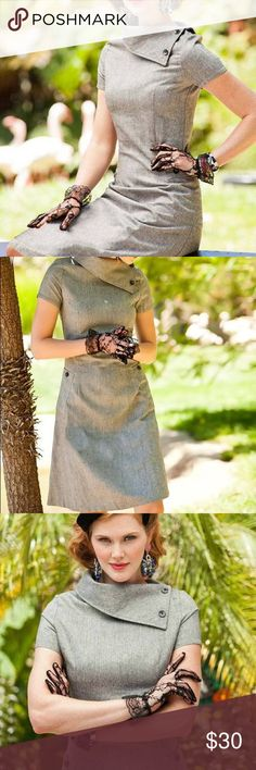 Shabby Apple Vintage Wool Gray Dress Size 4 -Small This is the Wool A-Line Panthera Dress from the Zoology Collection by Shabby Apple Size 4 (Small) Excellent condition Shabby Apple Dresses Midi