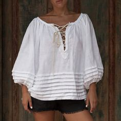 AMALFI Top, White Smock Top with Rope Ties and Pin Tuck detail - Lace Up Blouse, Loose Fitting Shirt / Bell Sleeve by ljcdesignss on Etsy White Smock Tops, Tunic Tops, Pink Wool Coat, Casual Outfits, Fashion Outfits, Red Swimsuit, Mode Hijab, Blouse Styles, African Fashion