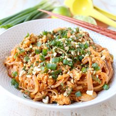 Spicy Vegetable Pad Thai is gluten free, vegetarian and given a spicy kick from the red curry paste, sriracha and sliced jalapeños!
