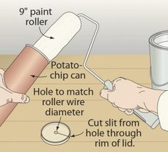 Scarf a snack, save a paint roller - Pringles can turned overnight paint roller storage