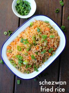 schezwan fried rice recipe Source by Vegetarian Rice Recipes, Mexican Rice Recipes, Veg Recipes, Spicy Recipes, Curry Recipes, Indian Food Recipes, Cooking Recipes, Chinese Recipes, Vegetarian Spring Rolls