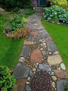 How to Make a Pebble Mosaic - house crush.ideas for our next home - How to Make a Pebble Mosaic Mixed material mosaic walkway. Mosaic Walkway, Pebble Mosaic, Stone Mosaic, Rock Walkway, Pebble Stone, Rock Mosaic, Pebble Art, Mosaic Rocks, Slate Stone