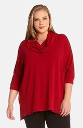 Karen Kane Cowl Neck Handkerchief Hem Top (Plus Size)