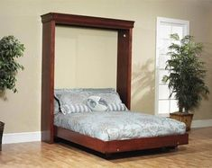 Build your own Queen Sized Murphy Bed DIY Plan Fun to build Build A Murphy Bed, Murphy Bed Ikea, Murphy Bed Plans, Plywood Furniture, Bedroom Furniture, Diy Bedroom, Garden Furniture, Furniture Design, Concrete Furniture