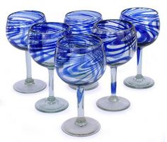 Buy Wine glasses, 'Blue Ribbon' (large, set of today. Shop unique, award-winning Artisan treasures by NOVICA, the Impact Marketplace. Each original piece goes through a certification process to guarantee best value and premium quality.