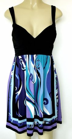 EUC City Triangles Mini Dress Blue Black Belt Sweetheart Sleeveless S Small #CityTriangles #EmpireWaist #Casual