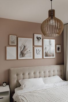 Bedroom Gallery Wall on a dusty pink wall. Light bedroom, velvet bed, wood, scandinavian living, scandi interior / Bilderwand im Schlafzimmer decor scandinavian Bedroom Gallery Wall - A Classy Mess Gallery Wall Bedroom, Room Ideas Bedroom, Home Decor Bedroom, Light Bedroom, Bedroom Boys, Bed Room, Ikea Bedroom, Bedroom Wall Colour Ideas, Pictures For Bedroom Walls