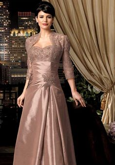Online Sale Dazzling Sweetheart Appliques Ruched With Wrap A-line Mother Of Bride Dress (MBD-112)