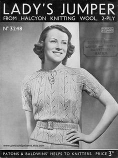 Chitchat about vintage knitting, crochet and sewing patterns Knitting Wool, Vintage Knitting, Knitting Patterns, Sewing Patterns, 2 Ply, Jumpers For Women, 1930s, Knit Crochet, Style Inspiration