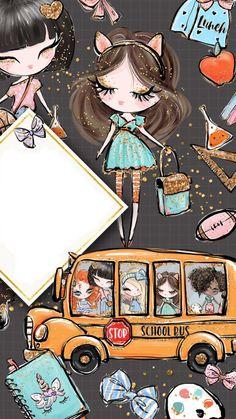 Girl Getting On Bus - Illustration Iphone 6 Wallpaper Backgrounds, Tumblr Backgrounds, Cute Wallpapers, Mermaid Drawings, Disney Drawings, Kawaii Chibi, Cute Chibi, Cactus Drawing, Panda Drawing