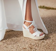 €169 Mirial Bij Espadrille Wedges Wedding Shoes Bride Bruiloft Summer Sparkle Vintage Bohomain Kant Satijn Ivory