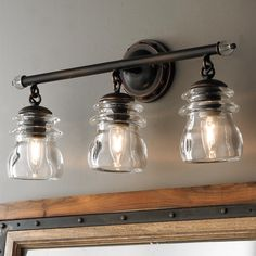 """Insulator Glass 3-Light Bath Light This collection is brought to life with Clear Glass shades referencing antique telephone pole insulators. Clean lines showcased in an Antique Copper finish and highlights of Copper Patina accents. (21""""W x 10.25""""Hx 6.25"""" Extension). 3 x 60W"""