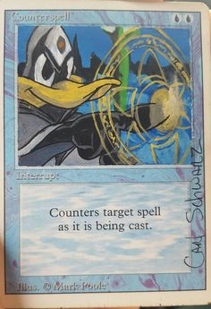 Check out this item in my Etsy shop https://www.etsy.com/listing/582454323/mtg-alter-counterspell-daffy-duck