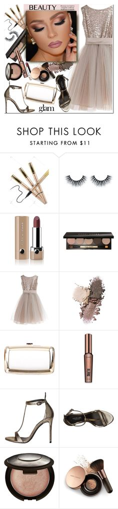 """""""Holiday Party Makeup"""" by j-sharon ❤ liked on Polyvore featuring beauty, Marc Jacobs, Bobbi Brown Cosmetics, Little Wardrobe London, Roger Vivier, Naeem Khan, Benefit, Becca, Nude by Nature and goglam"""