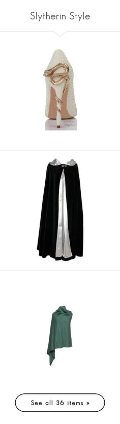 """Slytherin Style"" by sasane ❤ liked on Polyvore featuring cloaks, medieval, jackets, capes, outerwear, accessories, scarves, holiday scarves, evening wrap shawl and evening shawl"