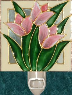 Artisan handmade Pink Tulips Nightlight. Original art stained glass night light painting of spring flowers for kitchen and bathroom decor by Pat Desmarais   $20.00